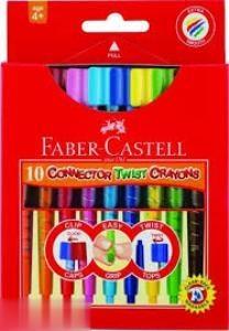 پاستل روغني 10 رنگ پيچي درچسبان FABER CASTELL 120020