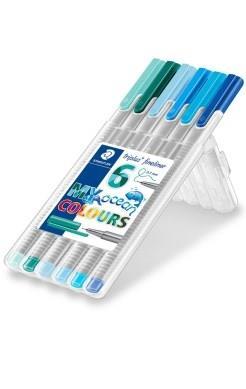 رواننويس 6 رنگ نوك نمدي STAEDTLER 334SB6CS5 Ocean Colours