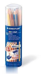 مدادرنگي 10 رنگ با پاككن و تراش استوانه STAEDTLER 61SET80-2 Noris Club Jumbo