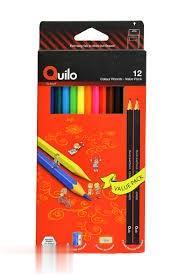 مدادرنگي 12 رنگ مقوايي با پاككن و تراش Quilo 634015