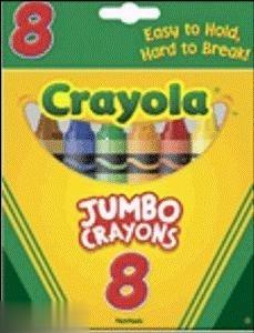 CT 8 Jumbo Crayons Peggable 0389