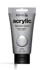 رنگ آكريليك REEVES 8340810 Silver 75ml
