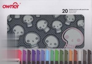 ست رواننويس 20 رنگ نوك نمدي با جامدادي owner 221322