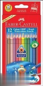 مدادآبرنگي 12 رنگ مقوايي FABER CASTELL 116242 Grip